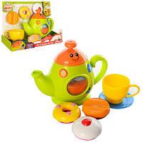 Набор игровой 0754-NL (6шт) чайный сервиз, чайник-муз,св,рег.гром, продукты,на бат,в кор,29-20-10,5см