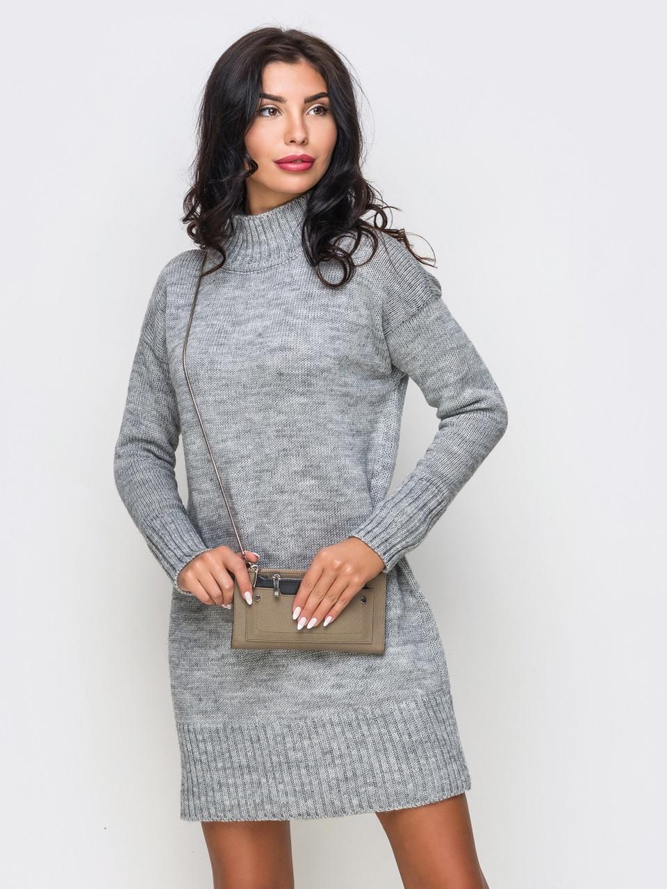 женское серое вязаное платье р44 48 продажа цена в киеве платья