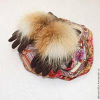 Стильные женские перчатки с натуральным мехом лисы.