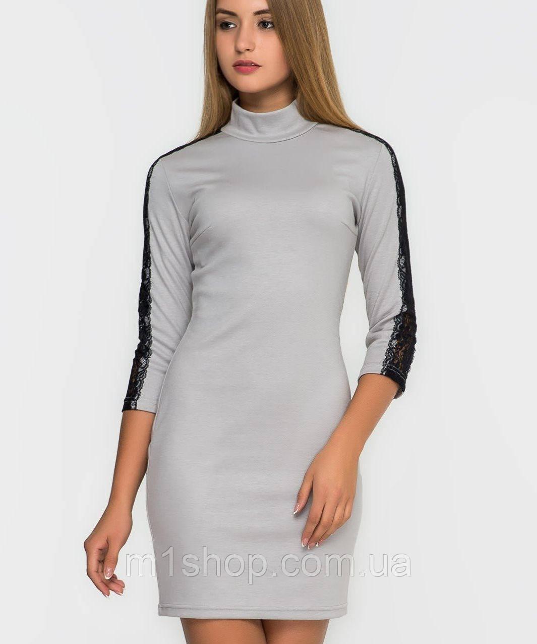 Женское платье с гипюром на рукавах (2154 sk)