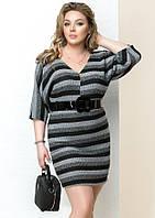 Женское платье-туника в полоску серого цвета, коллекция осень 2017