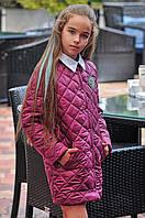 Детское стёганное демисезонное пальто длинная куртка на девочку с карманами марсала 134 140 146 152, фото 1