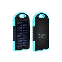 Солнечная портативная зарядка Power Bank Solar 2USB 6000 mAh Black-blue