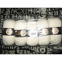 Турецкая  пряжа для вязания  Madame Tricote MERİNO GOLD 400 (мерино голд )меринос 60% шерсть - 100 белый