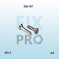 Шуруп с потайной головкой и прямым шлицем нержавеющий Din 97 М3.5 A4 ГОСТ 1145-80
