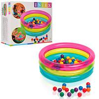 Бассейн 48674 (3шт) детский,3 кольца,с шариками в комплекте-50шт, 86-25см, в кор-ке, 35,5-30,5-15см