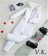 Женский стеганный Лыжный костюм комбинезон с мехом  (разные цвета)
