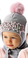 Детская теплая шапочка для девочки Плюшевые цветы, MARIKA (Польша)
