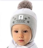 Детская теплая шапочка для мальчика Медвежонок, MARIKA (Польша)