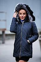Женская зимняя куртка с мехом кролика на капюшоне (разные цвета)