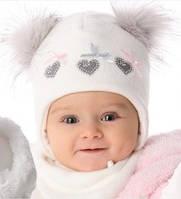Детская теплая шапочка для девочки Три сердечка, MARIKA (Польша)