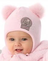 Детская теплая шапочка для девочки Мисс Мишка, MARIKA (Польша)