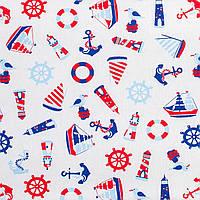 Простынь на резинке в детскую коляску BabySoon хлопок Кораблики 80 х 40 см (243)