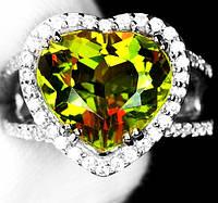 """Красивый перстень с султанитом  и белыми   сапфирами """"Сердце"""", размер 16,7 от студии LadyStyle.Biz"""