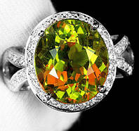 """Красивый перстень с султанитом  и белыми   сапфирами """"Глазго"""", размер 17,2 от студии LadyStyle.Biz"""
