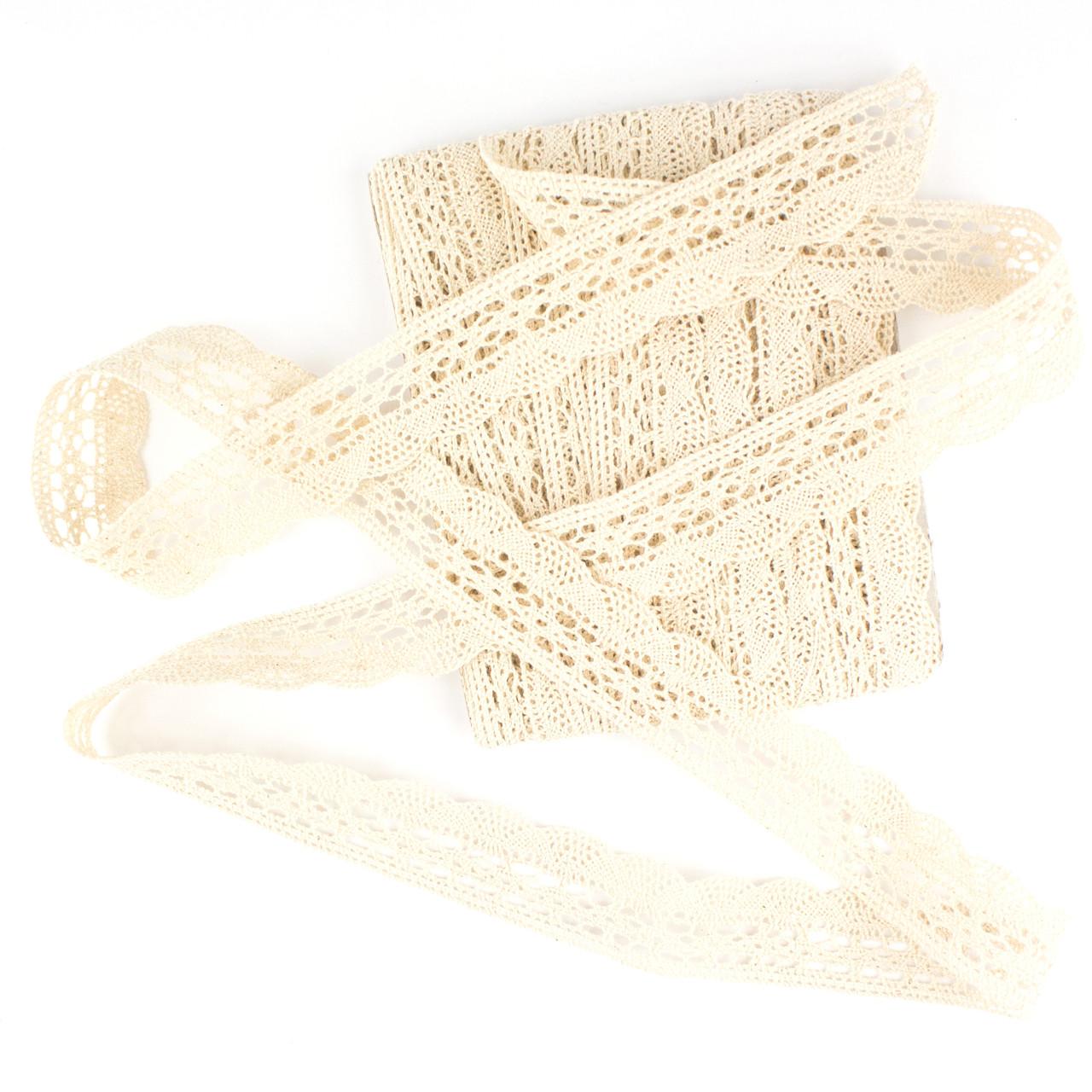 Кружево вязаное бежевое 1 метр для Handmade