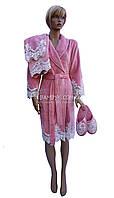 Женский подарочный набор Nusa (халат+тапочки+полотенце) № 3875, фото 1