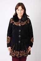 Модное женское укороченное зимнее пальто больших размеров чёрное