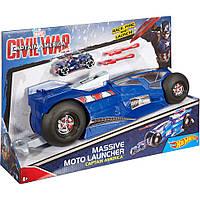 Набор Hot Wheels Капитан Америка (Hot Wheels Marvel Massive Moto Launcher Captain America Playset), Mattel