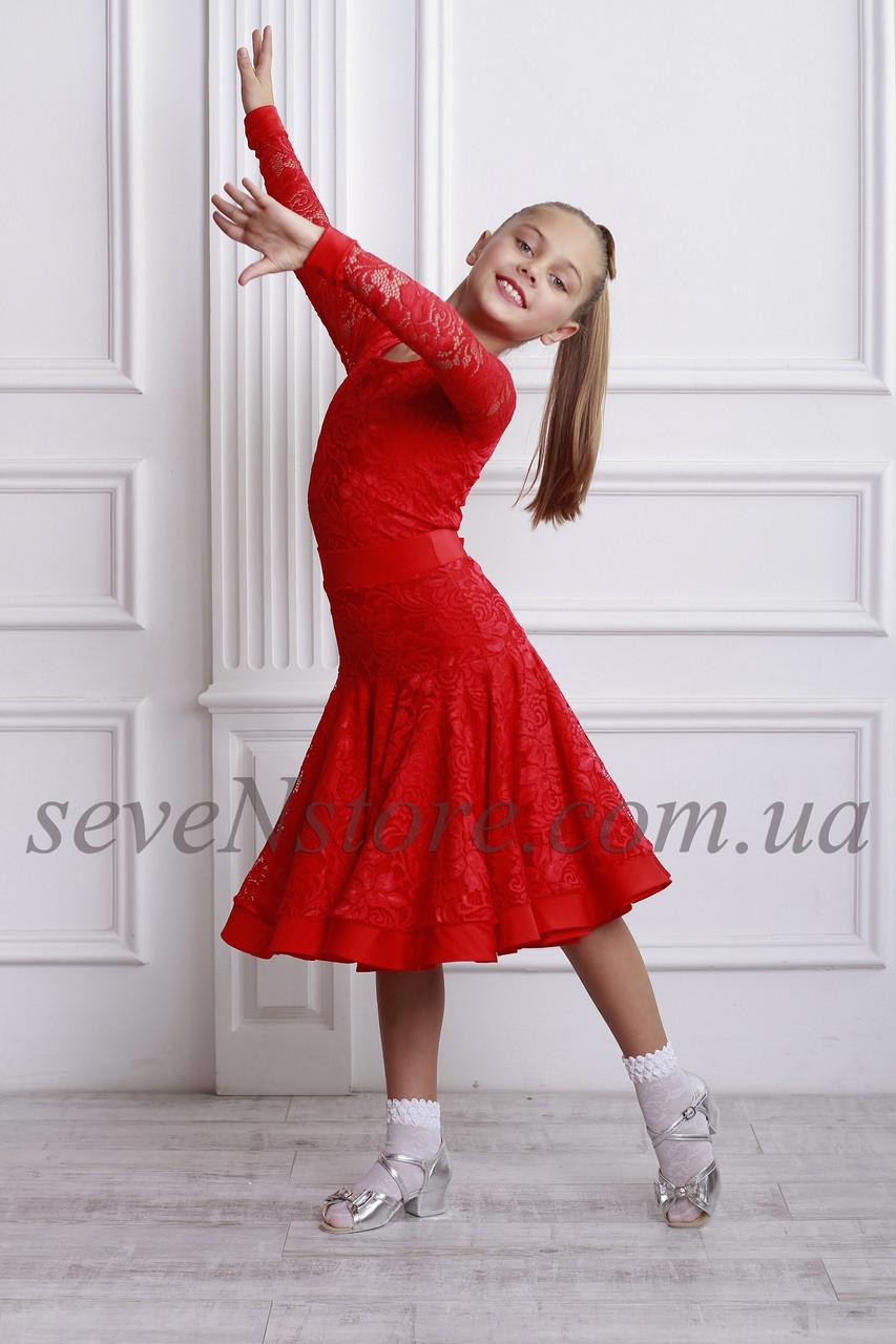 Рейтинговое платье Бейсик для бальных танцев Sevenstore 9112 Красное