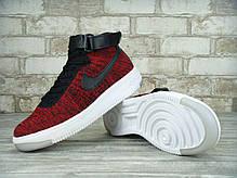 "Кроссовки мужские Найк Nike Air Force 1 Ultra Flyknit Mid ""Wine Red/Black. ТОП Реплика ААА класса., фото 2"