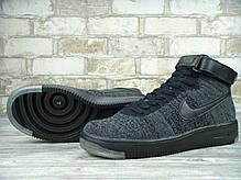 Кроссовки мужские Найк Nike Air Force 1 Flyknit University Dark Grey/Black. ТОП Реплика ААА класса., фото 2