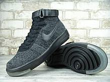 Кроссовки мужские Найк Nike Air Force 1 Flyknit University Dark Grey/Black. ТОП Реплика ААА класса., фото 3