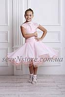 Рейтинговое платье Бейсик для бальных танцев с двумя юбками Sevenstore 9115 Нежно розовый