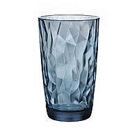 Стакан для напитков 470 мл. высокий, стеклянный синий Diamond Blue, Bormioli Rocco