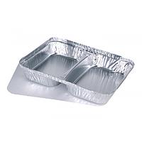Контейнер алюминиевый 2-х секционный прямоугольный c крышкой фольгированной 227х177х30 520/320 мл, 100 шт/уп