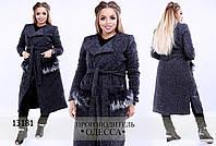 Пальто 098 отделка мех R-13181 темно-серый