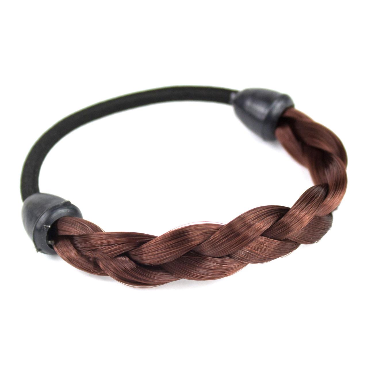 Резинка для волос с синтетической косичкой 33 Бургунд