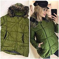 Женская зимняя куртка с меховым капюшоном, фото 1