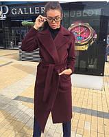 Женское осеннее пальто на запах ниже колен с поясом, фото 1
