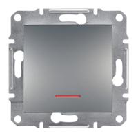 Выключатель одноклавишный с подсветкой Сталь Asfora Plus Schneider Electric ЕPH1400162