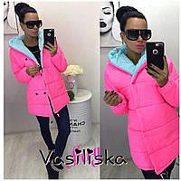 Женская комбинированная зимняя  тёплая куртка,  на кнопках, в расцветках