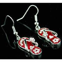 Серьги Red Slippers Earrings use Swarovski Crystal SE032 Код:1817