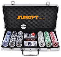 Покерный набор в алюминиевом кейсе на 300 фишек с номиналом (39x21x8см ) №300n Код:426318925