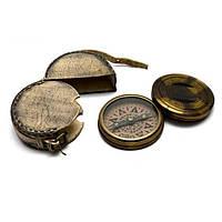 """Компас бронза в кожаном чехле """";Librurnia warship""""; (d-8,h-2 см) Код:26602"""