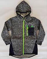 Толстовка-куртка на меху р.98-128 светло-серый+тёмно-синий
