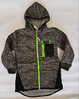 Толстовка-куртка на меху р.98-128 тёмно-серый +черный