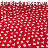 Ткань бязь с разносторонними сердцами на красном фоне, № 942, фото 3