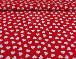 Ткань бязь с разносторонними сердцами на красном фоне, № 942, фото 4