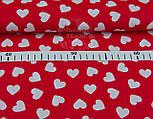 Ткань бязь с разносторонними сердцами на красном фоне, № 942, фото 5