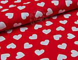 Ткань бязь с разносторонними сердцами на красном фоне, № 942, фото 6
