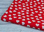 Ткань бязь с разносторонними сердцами на красном фоне, № 942, фото 7