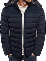 Мужская зимняя стёганая куртка с капюшоном и заплатками