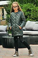 Детское стёганное демисезонное пальто длинная куртка на девочку с карманами хаки 134 140 146 152