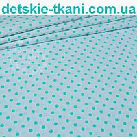 Ткань с мятным горошком, 7 мм на белом фоне № 943