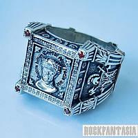 Серебряное мужское кольцо перстень печатка Цезарь